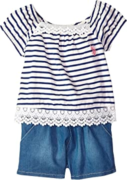 2 For Look Stripe Romper (Little Kids)