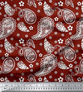 Soimoi Red Silk Fabric Floral & Paisley Print Sewing Fabric BTY 42 Inch Wide