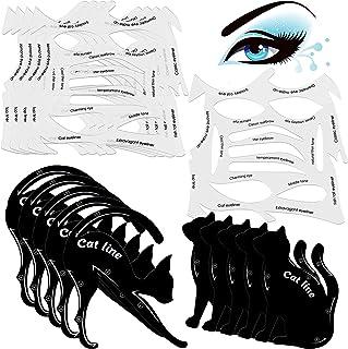 10 Sets 2 in 1 Cat Eyeliner Molds Smoky Eyeliner Stencil Pads Eyeshadow Applicators Eyeliner Template Plate Matte PVC Material Eye Makeup Tool Kit Quick Makeup Stencil