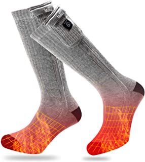 Heated Socks Men Women,7.4V 2200mAh Electric Rechargeable Battery Heated Socks for Winter Sports Motorcycle Riding Snow Skiing,Warm Cotton Heating Ski Socks Foot Warmer Battery Operated Powered Socks