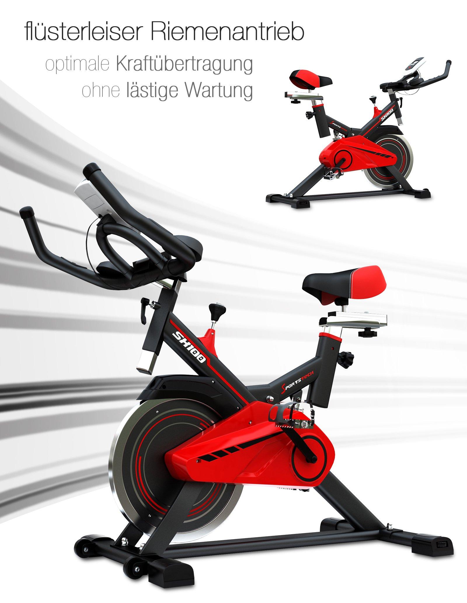 Bicicleta estática profesional Sportstech SX100 con rueda de ...