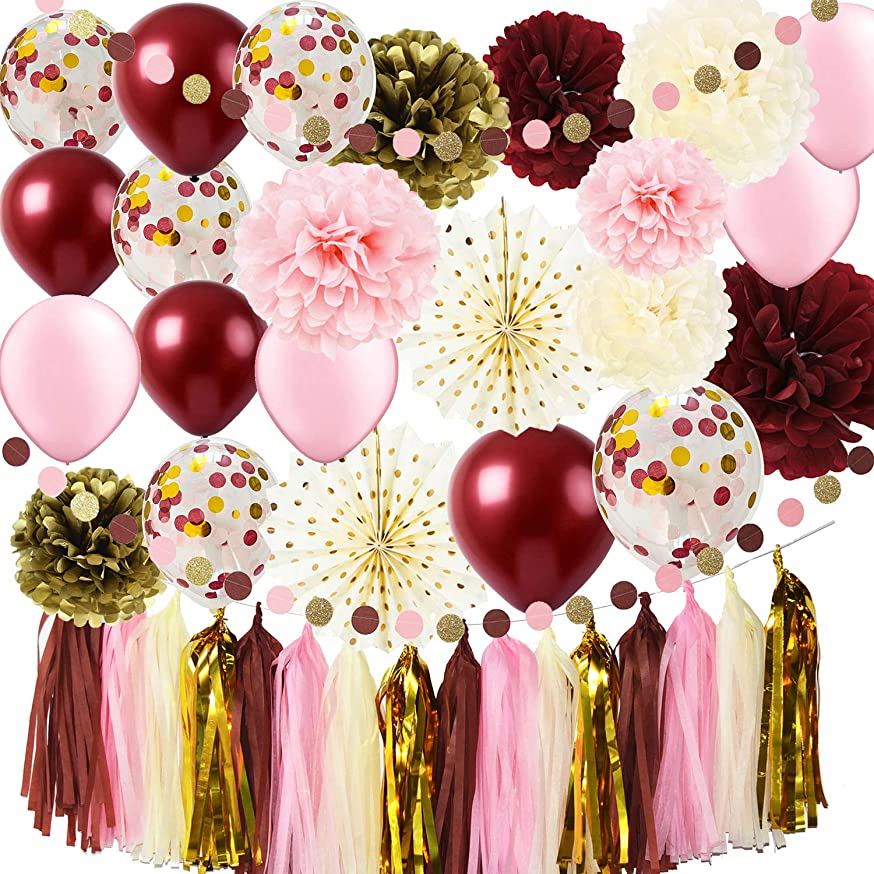Qian's Party Burgundy Pink Bridal Shower Decorations Burgundy Pink Gold Bachelorette Party Supplies Gold Polka Dot Paper Fans Burgundy Pink Gold Confetti Ballons/30th/40th/50th Birthday Decorations