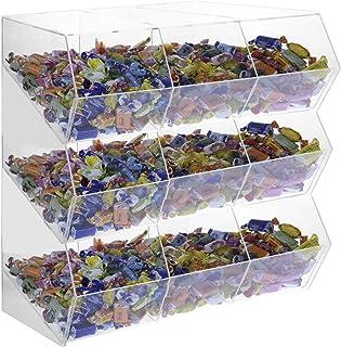 Avà srl Boîte à Bonbons en Acrylique Transparent sans Couvercle 9 Compartiments - Dimensions : 49x25x H45 cm
