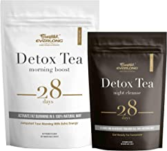 Detox Tea 28 Day Herbal Teatox Kit (Morning Boost & Night Cleanse) - Pyramid Teabag Serving, Easy Brewing and Taste Delicious