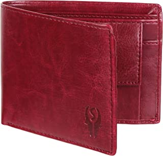 WALLETIN Cherry Red Artificial/PU Leather Wallet for Men - 02 Currency Compartments 02 Hidden Pocket 3 Credit Card Slots Coin Pocket