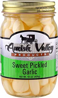 Amish Valley Products Country Pickled Garlic Sweet or Hot Flavor 15 oz Glass Jar (SWEET, 1 - 15oz JAR)