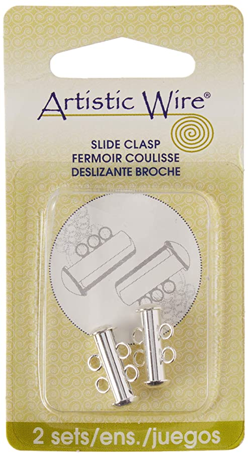 Artistic Wire A355B-110 2-Strand Silver Plated Slide Clasp for Jewelry, Set of 2