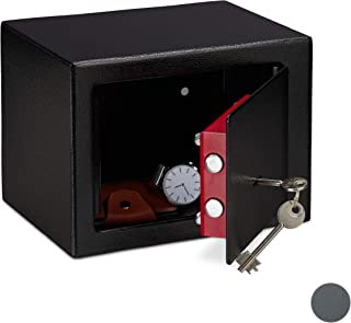 Relaxdays Home Safe with Keys, Double-bit Lock, Fix to Wall/Floor, Mini Vault, HWD: 17 x 23 x 17 cm, Black