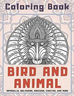 Bird and Animal - Coloring Book - Armadillo, Wolverine, Raccoon, Cheetah, and more