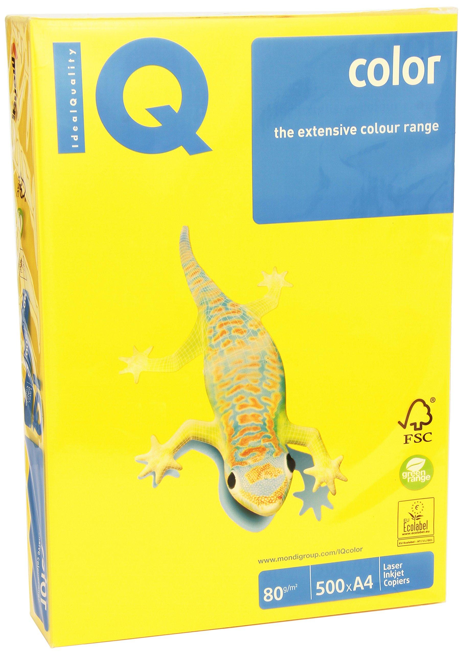 IQ 130092 - Pack de 500 hojas de papel multifunción, A4, 80 gr, color amarillo: Amazon.es: Oficina y papelería