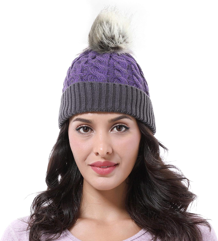 Cable Knit Beanie Warm Faux Fuzzy Fur Pom Pom Skull Ski Cap for Men, Women
