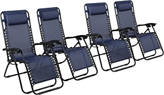 Naomi Home Zero Gravity Lounge Patio Outdoor Recliner Chairs Navy/Set of 4