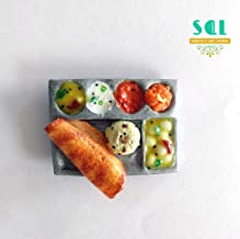 Soniya's Art Lounge Dosa Breakfast Handmade Miniature Food Fridge Magnet (4 x 3.2 cm, Orange)