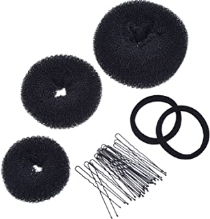 Mudder 3 Pieces Donut Bun Maker Hair Bun Maker Ring Style Bun Maker Set for Chignon Hair Includes Large, Medium and Small ...
