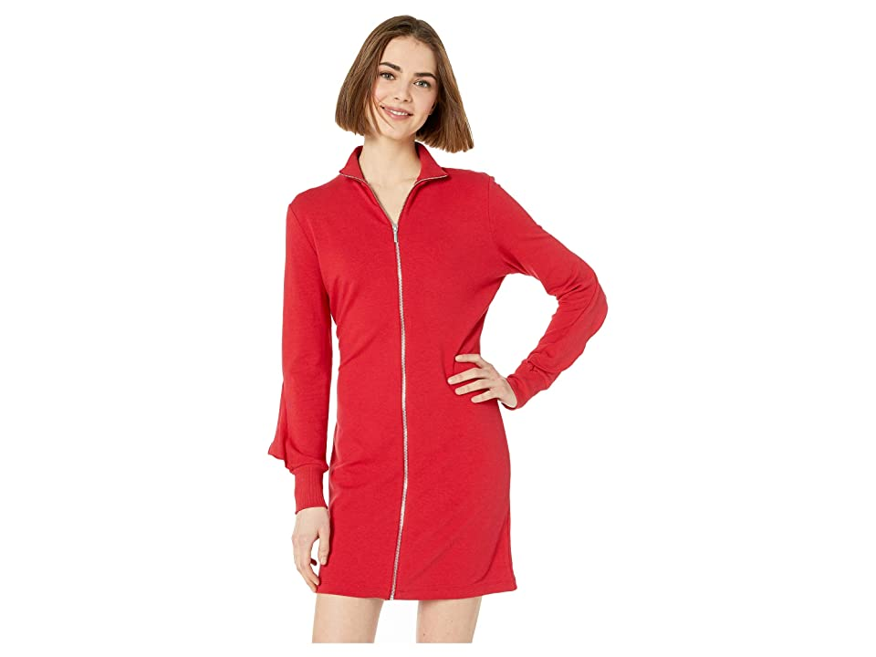 Bebe Zip Front Ruffle Back Dress (Chili Pepper) Women