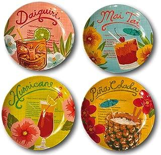 Tommy Bahama Tropical Drinks Cocktails Melamine Salad Dessert Plates Set of 4