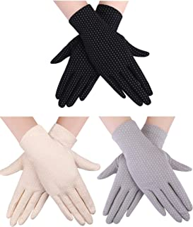 3 Pairs Women Sun Protective Gloves UV Protection Sunblock Gloves Touchscreen Gloves for Summer Driving Riding