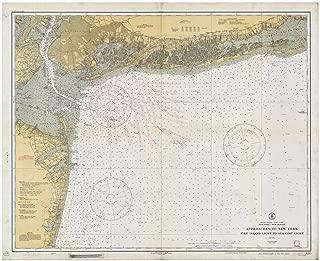 Map - Fire Island Light To Sea Girt Light, 1934 Nautical NOAA Chart - New York, New Jersey (NY, NJ) - Vintage Wall Art - 55in x 44in