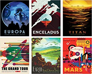 NASA Space Wall Decor - Set of Six 8x10 Glossy Prints - Perfect Future Planet Travel Room Art Posters