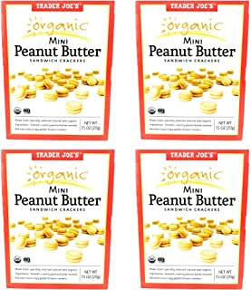 Trader Joes Organic Mini Peanut Butter Sandwich Crackers - Pack of 4 Boxes - 7.5 oz per Box