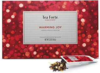 Tea Forte Warming Joy Single Steeps Loose Leaf Tea Sampler Gift Set, Assorted Variety Holiday Tea Box, 15 Single Serve Pouches, Festive Winter Spice Blends