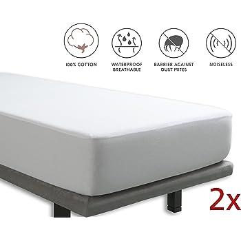 Tural – Protector de colchón y Sábana Bajera 2 en 1 Impermeable y Transpirable. Tejido 100% Algodón. Pack 2 uds. Talla 90x200cm: Amazon.es: Hogar