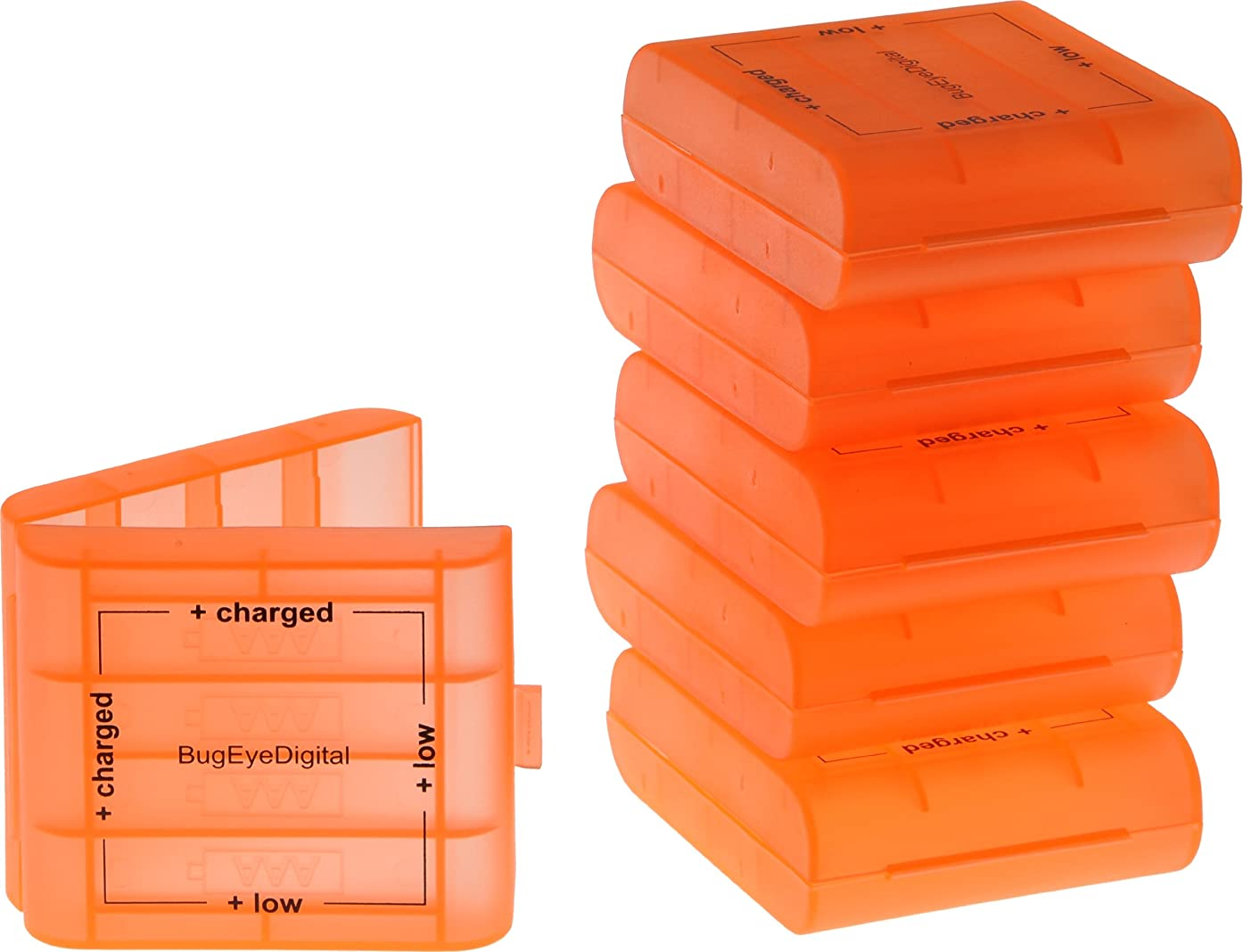 B.E.D. (6 Pack) AA / AAA Fluorescent Orange 4 Cell Battery Case with Charge Reminder Markings
