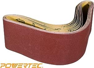 POWERTEC 110680 4 x 36 Inch Sanding Belts | 80 Grit Aluminum Oxide Sanding Belt | Premium Sandpaper – 10 Pack