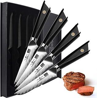 SHAN ZU Cuchillos de Carne Damascos, Cuchillos de Mesa, Juego de Cuchillos de Cocina de 4PCS, Steak Knife, Cuchillos de Carne con Acero Damasco AUS-10 Japones, Mango G10 Ergonómico