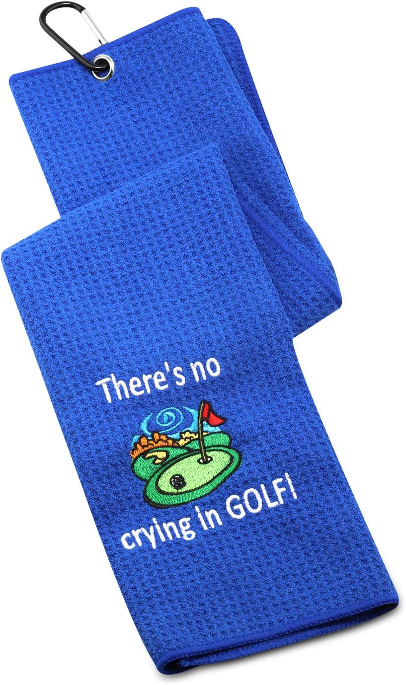 G2TUP Golf Towel Funny Gag Gift Clean Golf Balls There's No Cryi