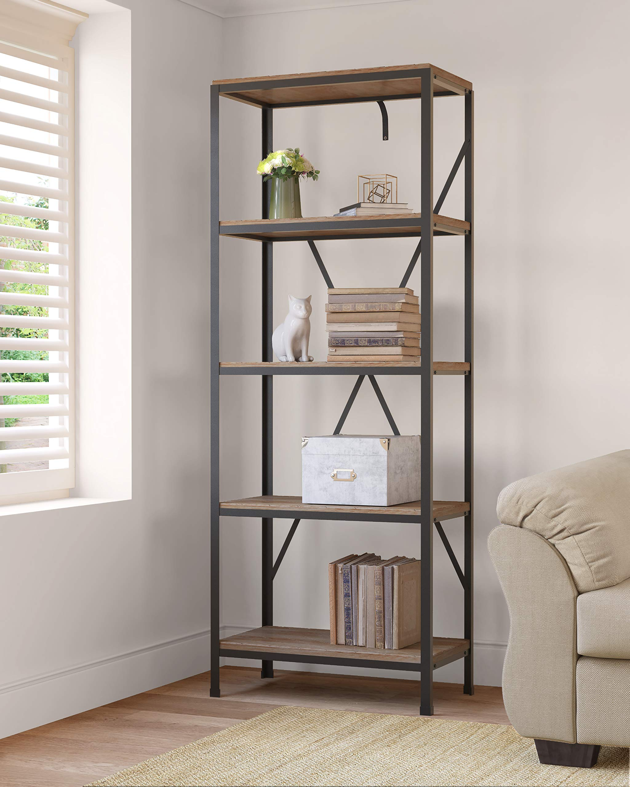 Click Decor Fubc10019a Farmhouse Bookshelf Rustic Black Buy Online In Albania Missing Category Value Products In Albania See Prices Reviews And Free Delivery Over 7 500 Lek Desertcart
