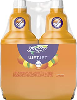 Swiffer Wetjet Hardwood Floor Mopping and Cleaning Solution Refills, All Purpose Cleaning Product, Sweet Citrus and Zest Scent, 42.2 Fl Oz, 2 Pack (Packaging May Vary)