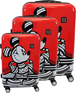ful Disney Mickey Hardside 3-Piece Luggage Set: 21, 25, and 29-Inch Suitcases (Red)
