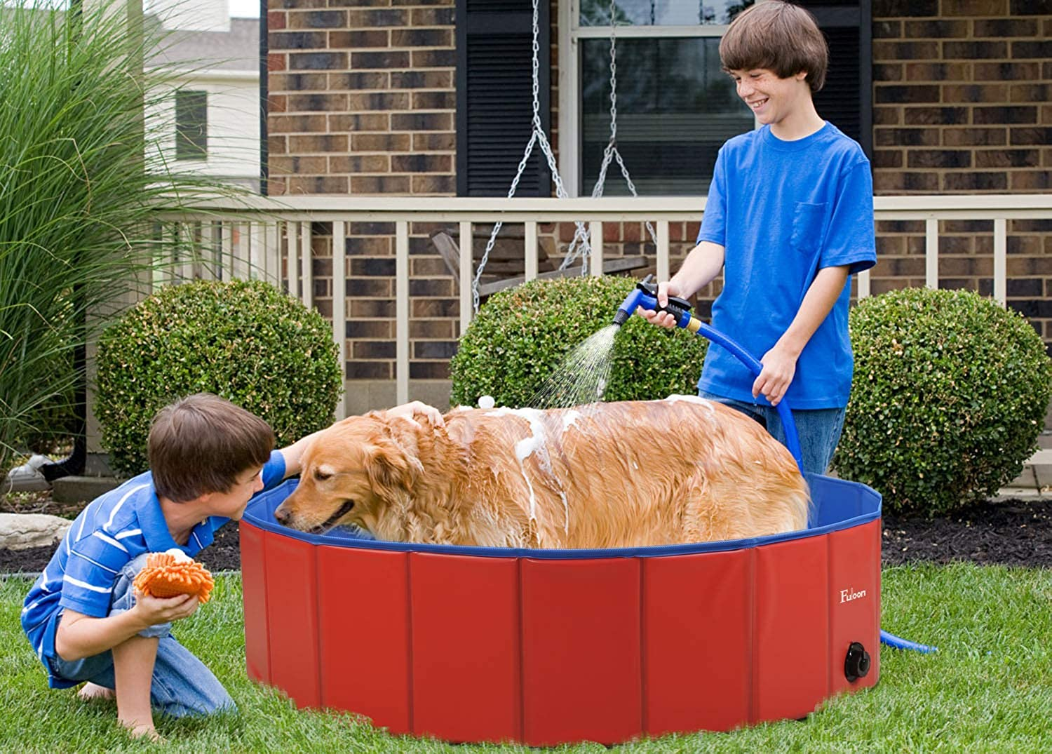 Fuloon Foldable Pet Swimming Pool Dogs Cats Paddling Pool Puppy Bathing Tub (L  39.4inch(Dia) x 11inch(H))
