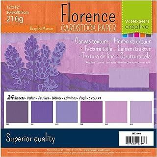 Vaessen creative 2923-003 Florence Papier Cartonné, Couleurs Violettes, 216g, 30,5 x 30,5 cm, 24 Feuilles, Surface Texturé...