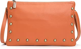 product image for Orange Italian Leather Studded Clutch/Crossbody Small Bag