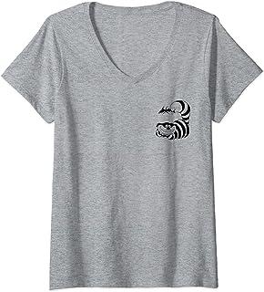 Femme Disney Alice In Wonderland Cheshire Cat Left Chest T-Shirt avec Col en V