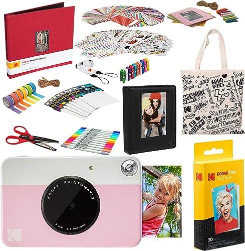 2021 Kodak PRINTOMATIC online new arrival Instant Print Camera (Pink) Deluxe Scrapbook Bundle sale