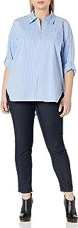 CALVIN KLEIN Women's Plus Size Zip Front Striped Blouse