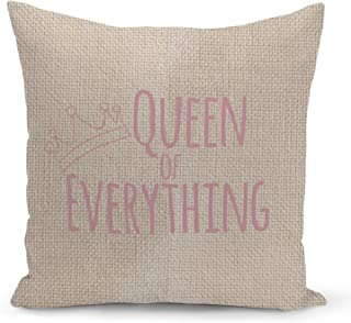 Queen of everything Beige Linen Pillow with Rose Gold Glitter Foil Print Girls Couch Pillows