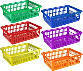 Zilpoo 6 Pack - Plastic Colorful Storage Baskets, Paper, Office Supplies, Toys and Teacher Student Classroom Organization Bins, 15