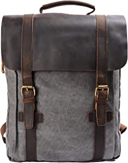 Retro Canvas Leather School Travel Backpack Rucksack 15.6 inch Laptop Bag