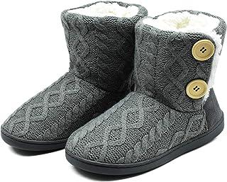 ONCAI Zapatillas de casa para Mujer en Invierno Lana Artificial Forrada de Botones en el Lateral, cómoda y cálida.