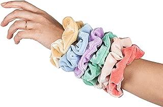 HARLOW Designer Velvet Scrunchies for hair, Big Scrunchies Velvet Packs for VSCO stuff, Hair Scrunchies - 6 Pack (Pastel)