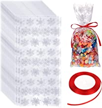 100 Pieces Cellophane Treat Bags Halloween Christmas Party Treat Bags Plastic OPP Candy Bags with Ribbon for Halloween Christmas Party Supplies (Style 2)