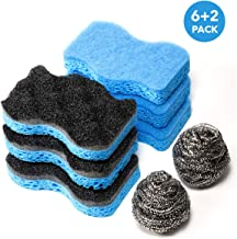 SSJL Multi-Use & Non-Scratch Kitchen Sponges with 2 Stainless Steel Wool - Natural Sponges Kitchen Dish Sponge Dual-Sided Cellulose Scrubber - Effortless Cleaning Eco Scrub Pads for Dishes (6 Pack)
