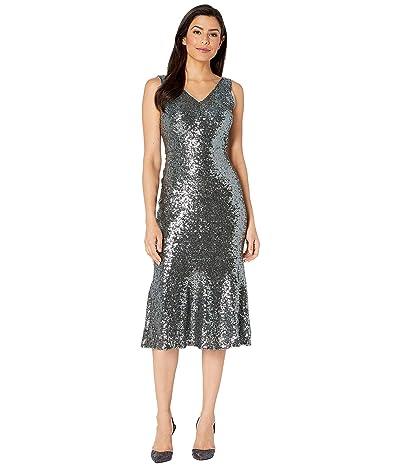 Maggy London Sparkle Sequin Cocktail Sheath Dress (Rainforest) Women