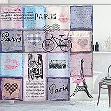 vrupi Cortina de Ducha Paris Paris con Objetos Famosos Torre Eiffel Tema Europeo Textura Vintage 71x71inch Tela Impermeable de poliéster Incluye Doce Ganchos de plástico