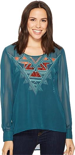 Cruel Long Sleeve Polyester Chiffon - Lace Insert