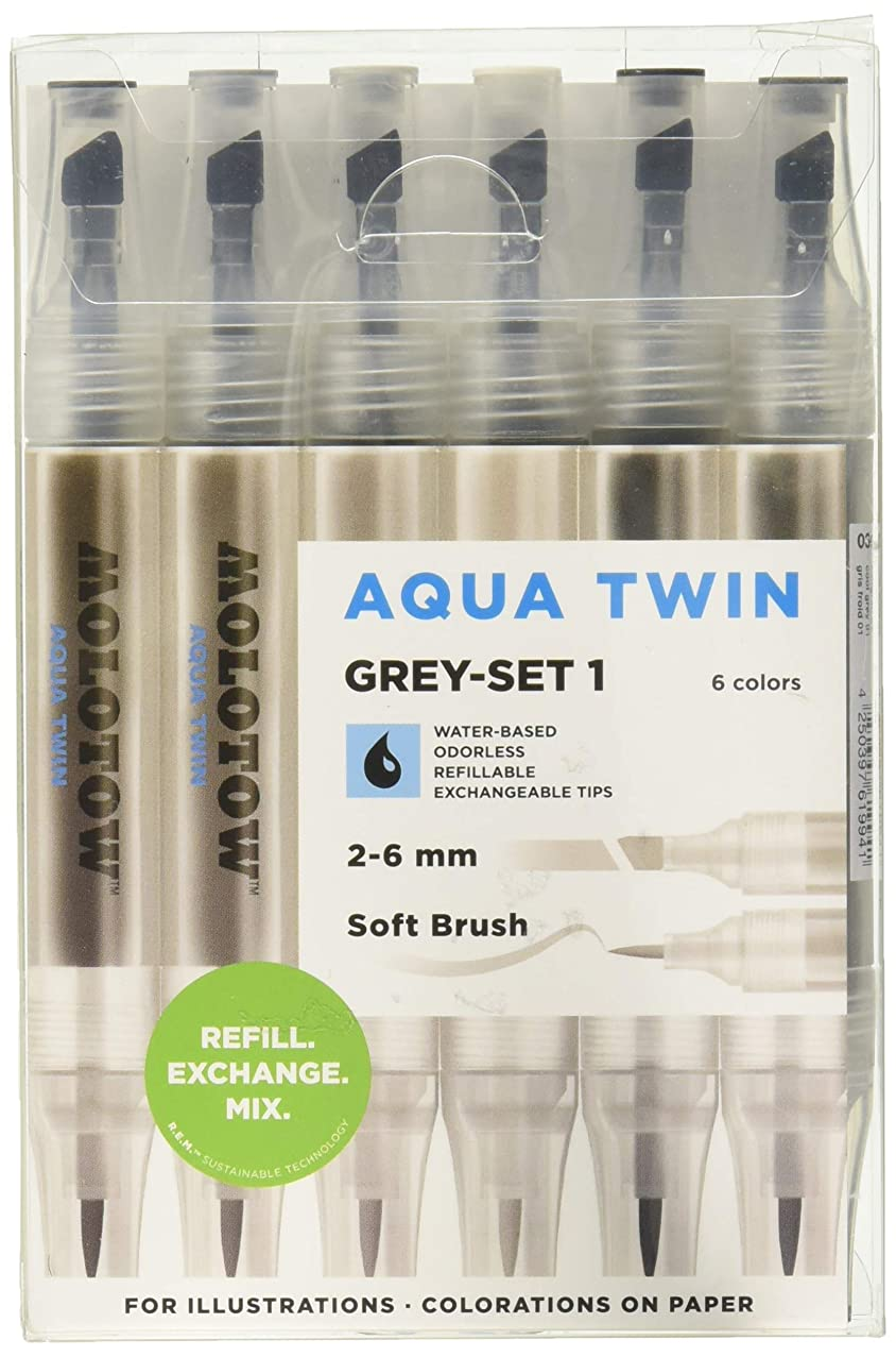 Molotow Aqua Twin Marker Grey Set 1, Brush and Chisel Nib, Assorted Colors, 6 Marker Set, 1 Set Each (729.303)
